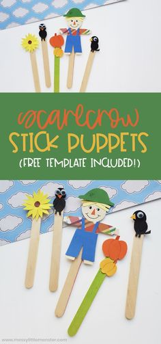 Scarecrow craft. Popsicle stick puppets with scarecrow template. Easy fall craft for kids. Easy Fall Crafts, Crafts For Kids To Make, Kids Crafts, Baby Crafts, Popsicle Stick Crafts For Kids, Craft Stick Crafts, Scarecrow Crafts, Puppets For Kids, Easy Christmas Ornaments