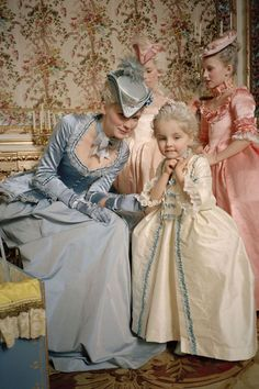 "From the movie ""Marie-Antoinette"". Little girl costumes and love the hats!! (Kirsten Dunst)"