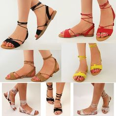 70536a666bf22 Details about Womens Ladies Tie Up Gladiator Flat Sandals Strappy Summer  Metallic Shoes Size