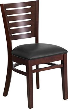 Commercial Quality Slat Back Walnut Wood Finish Restaurant Chair with Black Vinyl Seat