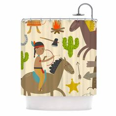 Kess InHouse Petit Griffin Tipi Brown Shower Curtain