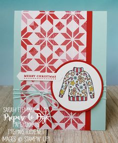 Stampin' Up! Christmas Sweaters & Teeny Tiny Wishes with Quilted Christmas paper and Stampin' Blends - handmade Christmas card - Sarah Fleming - Prepare to Dye Papercrafts