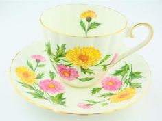 Royal Tuscan cup and saucer chrysanthemum fine bone china high tea party