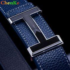 ChenKe Men Belt 2017 Cowhide Genuine Leather Belts For Men Fashion Smooth  Buckle Belts With Letter H Belts Cinturones Hombre afc90e0df1a
