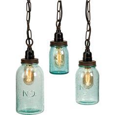Imax Lexington Mason Jar Pendant Lights (Set of 3) (Mason Jar Pendant Light Set), Black (Glass)