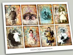 FORGOTTEN CHILDHOOD  Digital Collage Sheet Gift Tags by ArtCult, $4.90