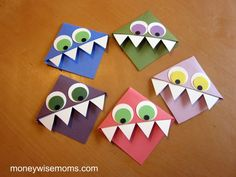 Paper Monster Bookmarks, My son uses and loses book marks a lot. We will have to make these!