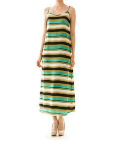 Look at this #zulilyfind! Green & Black Ribbon Back Maxi Dress by Vanilla Monkey #zulilyfinds