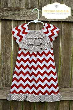 MADE TO ORDER Addison Ruffle Peasant Dress Short Sleeve Girls Tween Crimson Chevron Gray Polka Dot Alabama Texas A&M Aggies  Fabric Fall on Etsy, $31.00