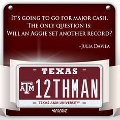 Texas A license plate could be an all-time record breaker: How high will Aggie pride push the price? http://www.myplates.com/12thman