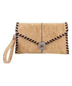 Look at this #zulilyfind! Sand Whip-Stitch Clutch #zulilyfinds