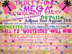 THIRTY ONE MEGA PARTY! EVERYONE WHO ORDERS WINS! CHECK MY FB PAGE FOR DETAILS!! 31 Party, Party Snacks, My Thirty One, Thirty One Gifts, Thirty One Business, Thirty One Consultant, 31 Gifts, Fb Page, Origami Owl
