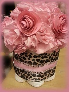 Diaper cake leopard pink