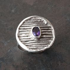 Amethyst Ring Sterling Silver Natural Purple by SunSanJewelry