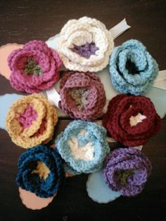 Crocheted Flower Pins