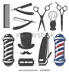 Set of vintage barber shop elements. Monochrome linear style - stock vector