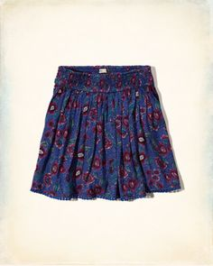 Patterned Smocked-Waist Skirt