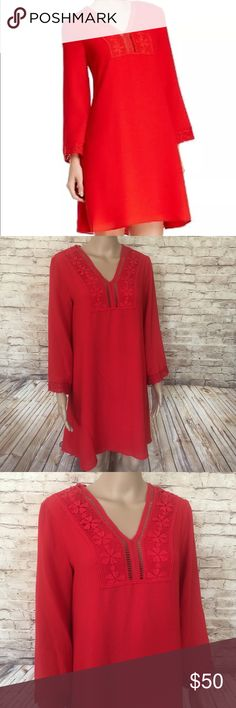 • Max Studio • Red Boho Lace Dress Bell Sleeve Max Studio NEW Red Cayenne Women's  Shift Crochet Lace Dress - with Floral Embroidered detail. Sizes - XS or S Max Studio Dresses