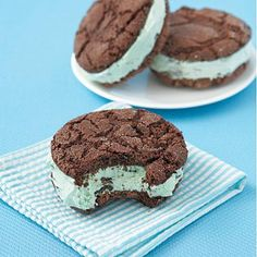 Make a batch of these chocolate-mint cookie ice cream sandwiches for dessert tonight.