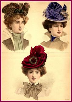 Hats for Women: Victorian Hats. Victorian Era Fashion, Victorian Hats, Victorian Costume, Victorian Women, Vintage Fashion, Fashion Art, 1890s Fashion, Edwardian Era, French Fashion