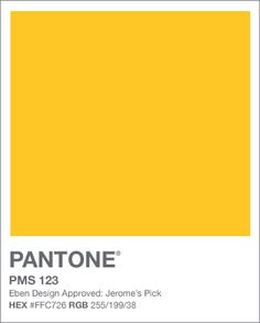 PANTONE. PMS 123. Jerome's Yellow. HEX #FFC726 RGB 255/199/38