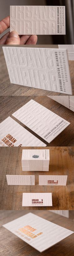 Deeply Embossed White Textured Letterpress Copper Foiled Business Card For An Architect