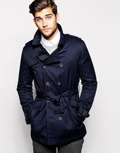 $133; ASOS Belted Trench Coat; Navy