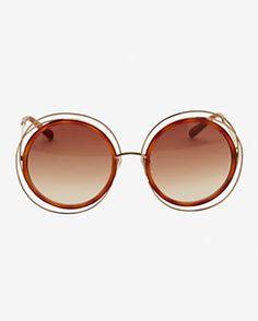 Chloe Carlina Wire Rim/Acetate Frame Sunglasses: Gold/Brown