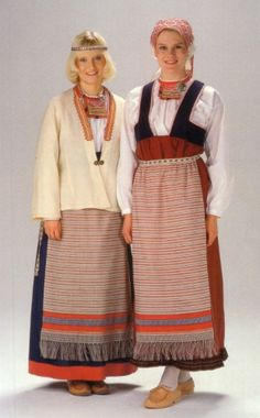 Folk costumes of Sakkola-Rautu, Karelia. At the junction of Finland, Russia, and Sweden. Folk Fashion, Ethnic Fashion, Ukraine, Folk Costume, Costume Dress, Traditional Dresses, Knitwear, Cool Outfits, Clothes For Women
