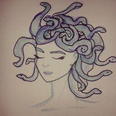 Medusa  Nanquim e Aquarela
