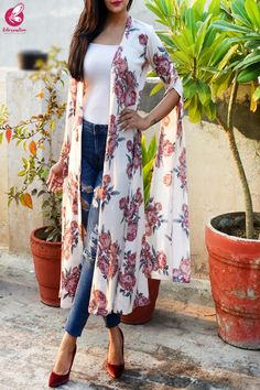 Buy Light Cream Crepe Printed Floral Shrug by Colorauction - Online shopping for Shrugs in India Western Dresses For Girl, Western Dresses For Women, Stylish Dresses For Girls, Dress Clothes For Women, Sleeves Designs For Dresses, Shrug For Dresses, Indian Designer Outfits, Indian Outfits, Casual Indian Fashion