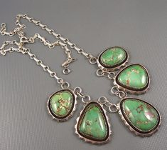 Vintage Navajo Sterling Five Natural Green Turquoise Pendant Necklace 62 Grams  | eBay