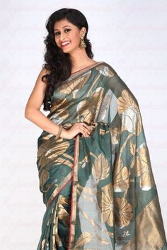 Kota Bottle-Green Saree