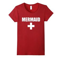 Amazon.com: Lifeguard Mermaid Funny Red White Official Swim Shirt: Clothing
