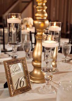 gold reception table decor