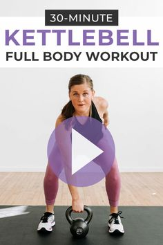 Full Body Kettlebell HIIT Workout Circuit-style KETTLEBELL HIIT WORKOUT FOR WOMEN! This full body workout combines strength training exercises with cardio power moves for an effective 30 minute workout you can do at home! Kettlebell Workouts For Women, Full Body Kettlebell Workout, Kettlebell Cardio, Full Body Workout At Home, Home Workout Videos, Hiit Workout At Home, 30 Minute Workout, At Home Workouts, Workout Circuit