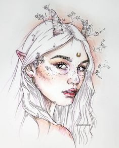 I'm loving the Sakura of America metallic pen. Still can't quite figure out how to correct the photograph of the… Art And Illustration, Illustrations, Cool Art Drawings, Art Drawings Sketches, Arte Aries, Arte Inspo, Arte Sketchbook, Portrait Art, Aesthetic Art