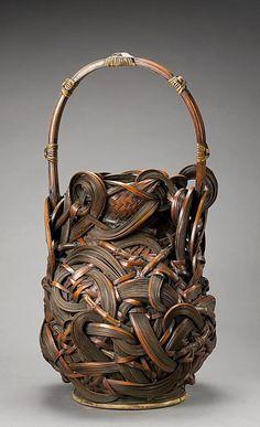 Japanese Flower Arranging Basket (Hanakago) | ca. 1950 - 1980 | Bamboo (madake variety), bamboo rhizomes, and rattan