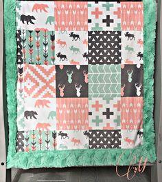 Woodland Minky Baby Blanket Woodland Blanket Toddler