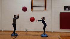 25 Two Omnikin Ball Tosses Bosu Ball, Tossed, Physical Education, Challenges, Activities, Physical Education Lessons, Physical Education Activities, Gymnastics