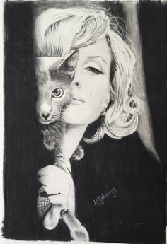Marilyn's cat Charcoal on paper 28x43 cms