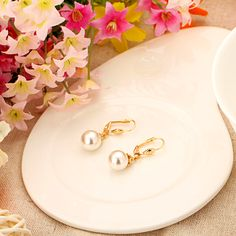Copper Alloy #18KGoldPlated Glass Pearl Zircon Drop Dangle Earrings Necklace with Pendant #JewelrySet Gift for Women Lady