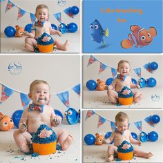 Finding Nemo and Dory cake smash theme. This was a fantastic shoot and this little one loved it. by Laura Spence Photography