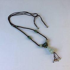 vintage boho spinach jade necklace natural multi color pale