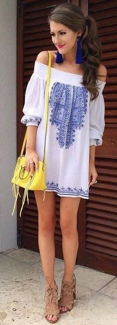 #summer #preppy #outfits |  White Bardot Embroidered Dress                                                                             Source