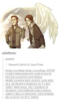 Idk what charges are but I love this <<<I believe I. This instance its take about angel!sam's human charge aka, the human he's been put in charge of... But I could be wrong :p also, adorable!