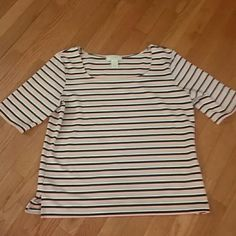 GORGEOUS TOP BY STUDIO WORKS XL TOP BY STUDIO WORKS...SEE PICS FOR DETAILS  BLACK PEACH AND BEIGE STRIPES Studio works Tops