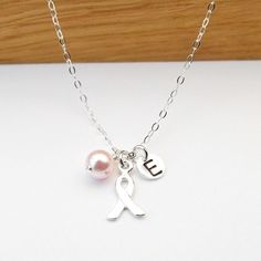 Breast Cancer Jewelry Breast Cancer Necklace Custom Initial & Pearl Breast Cancer Awareness Personalized, Sterling Silver, Gift for Survivor