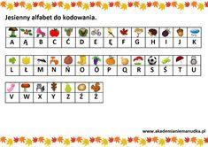 Jesień - karty pracy, prace plastyczne, ludziki z kasztanów i zabawy dla dzieci. | Akademia Niemanudka Periodic Table, Therapy, Periodic Table Chart, Periotic Table