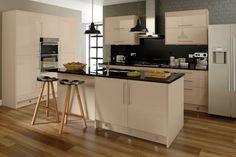 Medina Sand-Beige Kitchen Range from Cut Price Kitchens High Gloss Kitchen, Beige Kitchen, Cheap Kitchen, Kitchen Slab, Kitchen Styling, Bar, Cabinet, Table, Kitchens